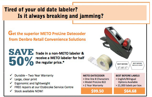 METO ProLine Datecoder from Denbro Retail Convenience Solutions 50% off Trade in